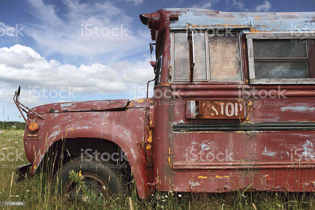 Abandoned school bus. stock photo