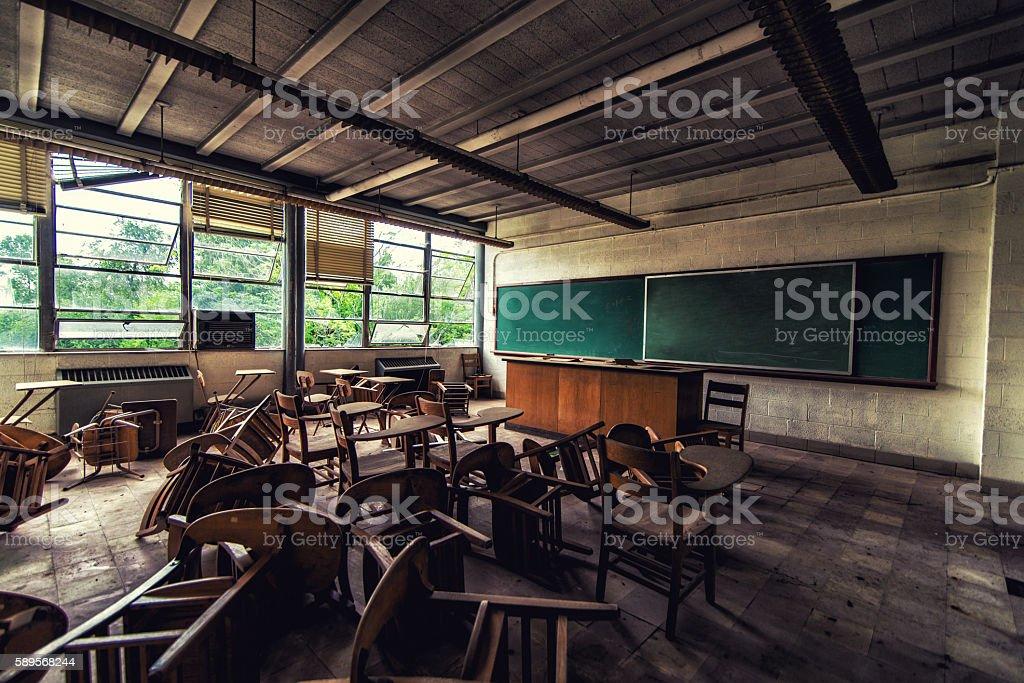 Abandoned science classroom stock photo
