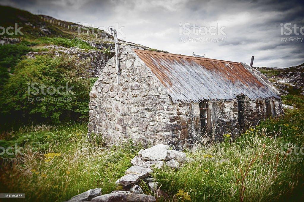 Abandoned Scottish Croft House stock photo