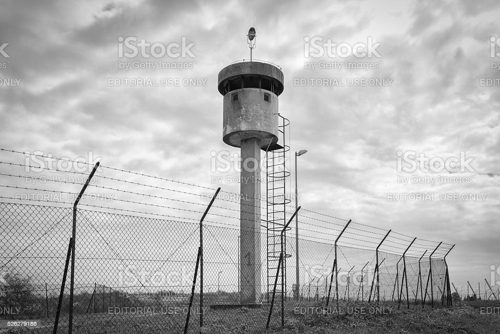 Abandoned sentry box tower. stock photo