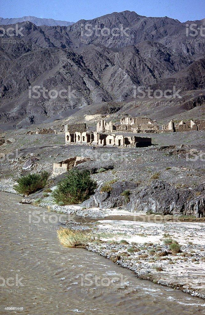 Abandoned Settlement river Han Dynasty Tien Shan Mountains Xinjiang China stock photo