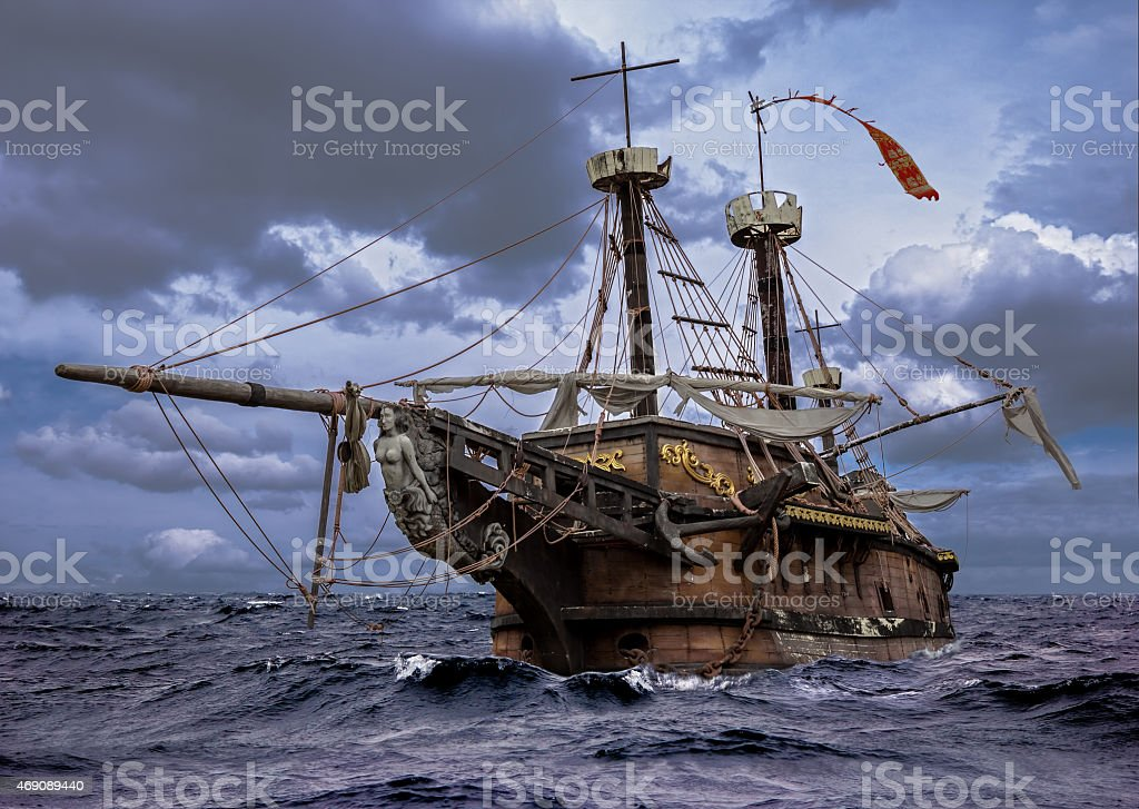 Abandoned ship at the sea stock photo
