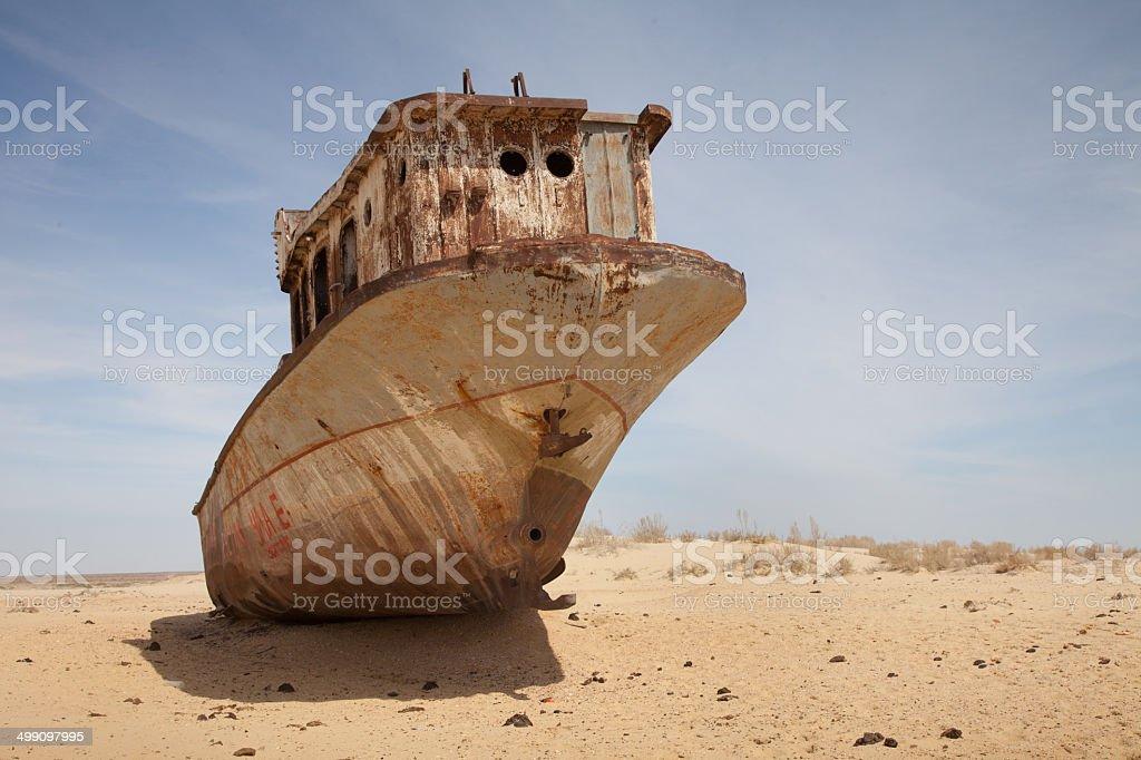Abandoned ship in Aral Desert, Moynaq, Karakalpakstan, Uzbekistan stock photo