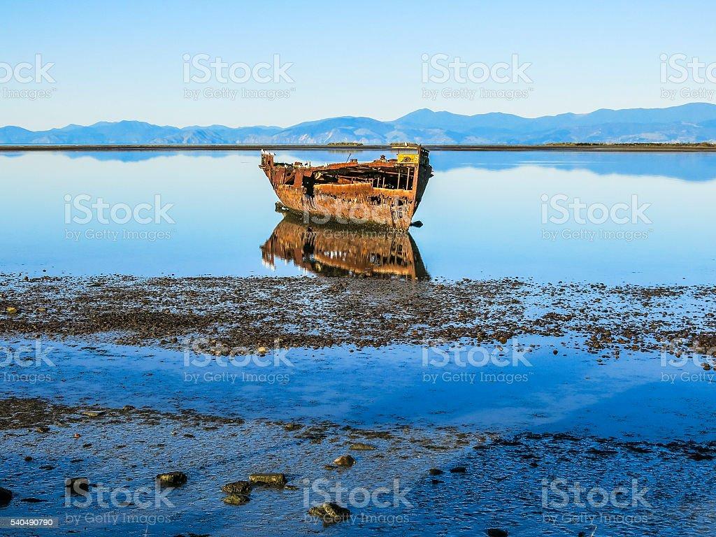 Abandoned ship in New Zealand stock photo