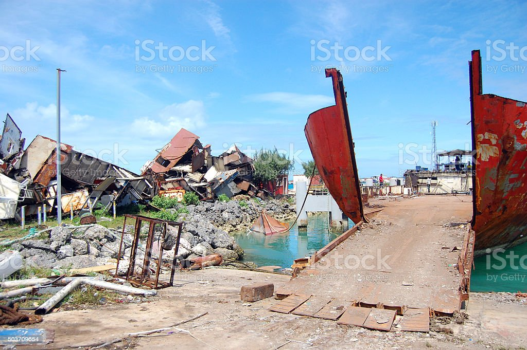 Abandoned ships at port stock photo