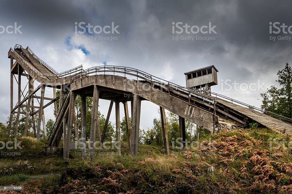 Abandoned ski jump stock photo
