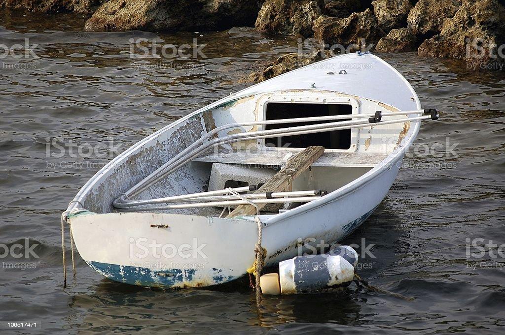 Abandoned skiff boat royalty-free stock photo