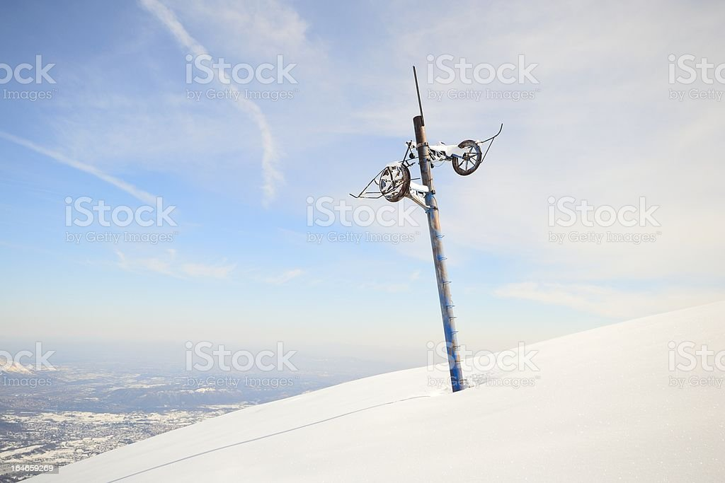 Abandoned skilift pillar royalty-free stock photo