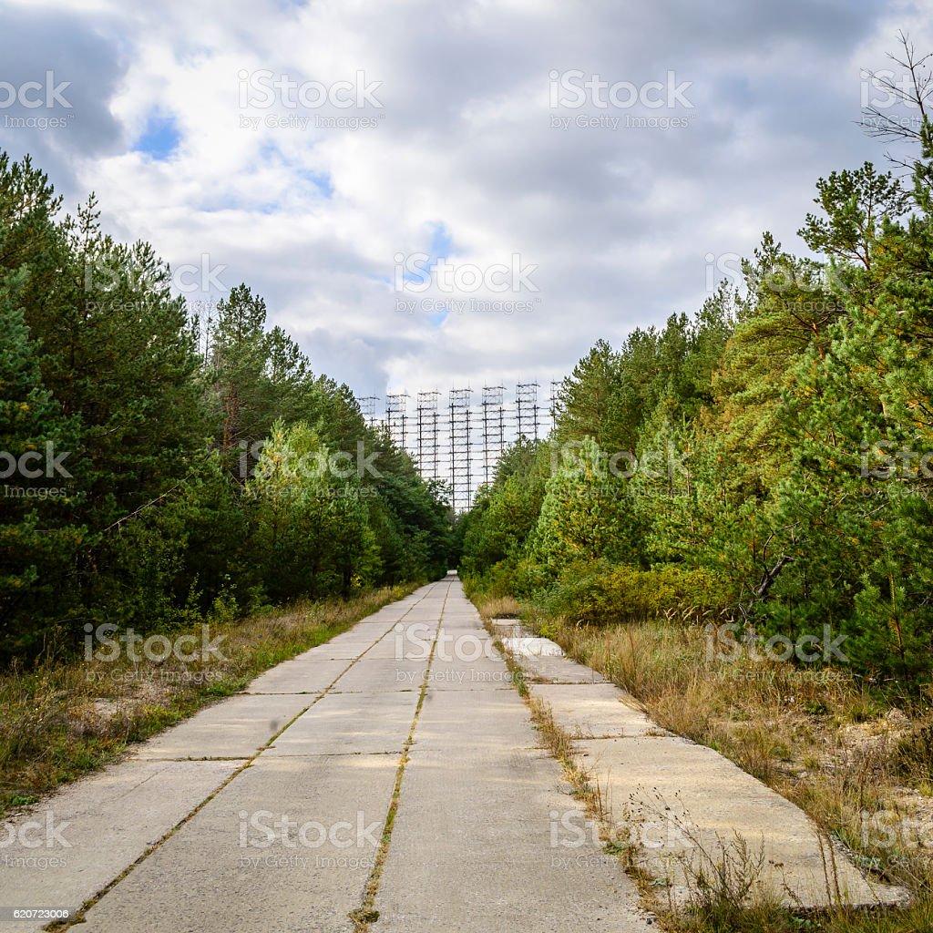 Abandoned Soviet radar stock photo