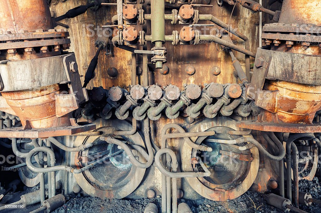 Abandoned Steel mills factory,old industrial equipment background stock photo