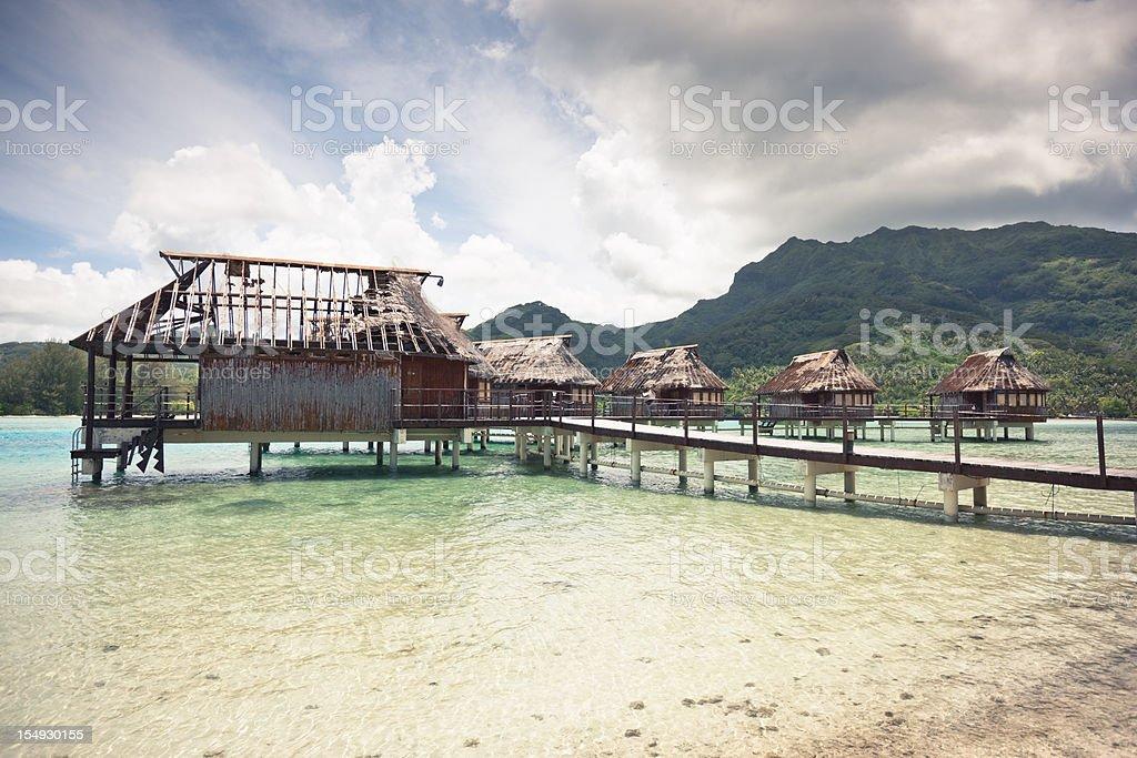 Abandoned Stil Beach Huts Tourist Resort Series IV royalty-free stock photo