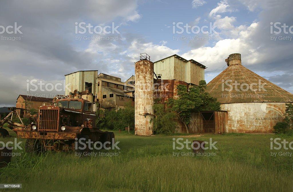 Abandoned sugar cane factory stock photo