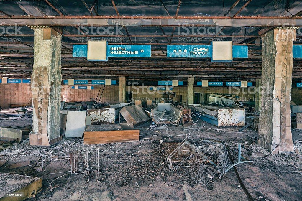 Abandoned Supermarket, Pripyat, Chernobyl, Ukraine stock photo