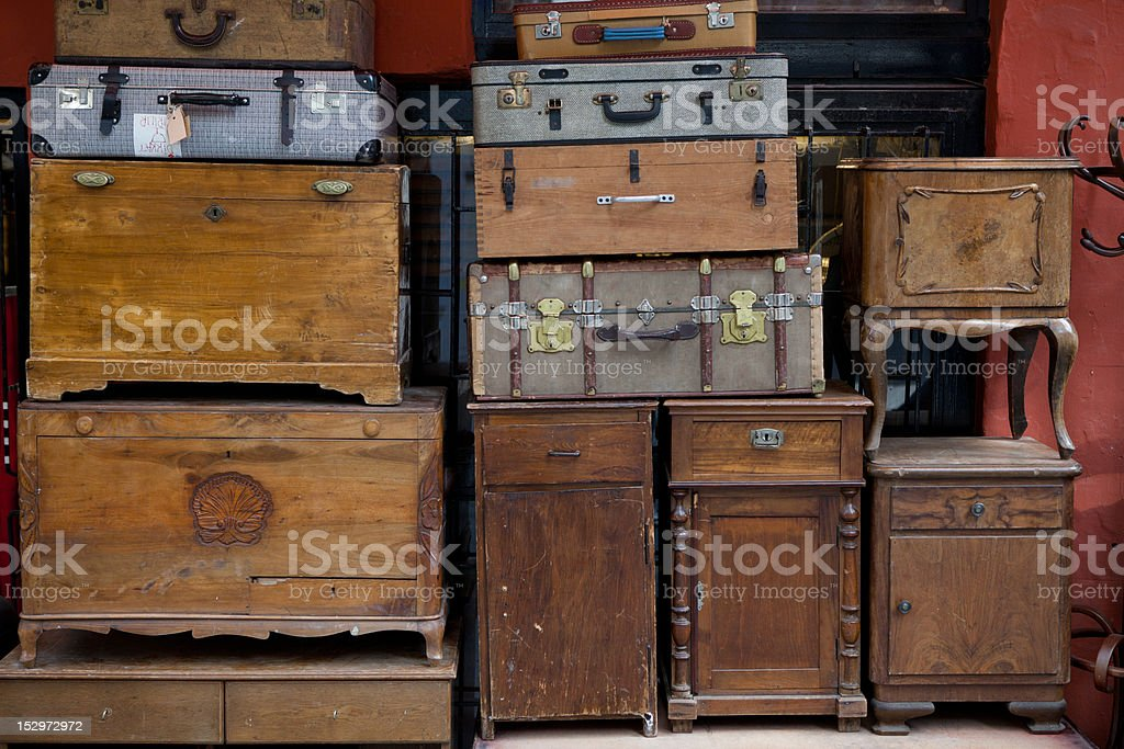 abandoned table ad suitcases royalty-free stock photo