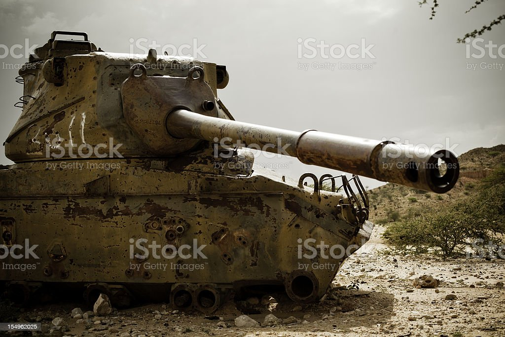 Abandoned Tank in Africa (Somalia) royalty-free stock photo