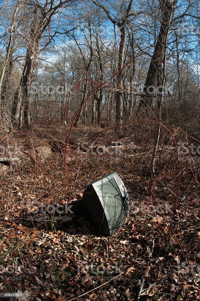 abandoned television stock photo