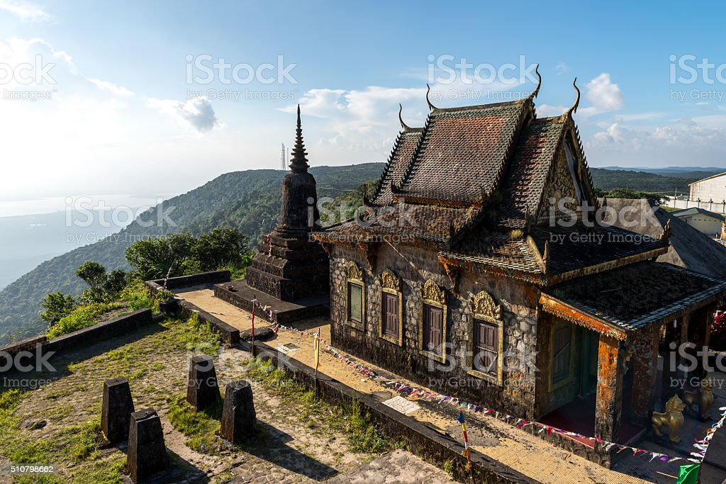 Abandoned temple, Phnom Bokor Kampot Province Oct 2015. stock photo