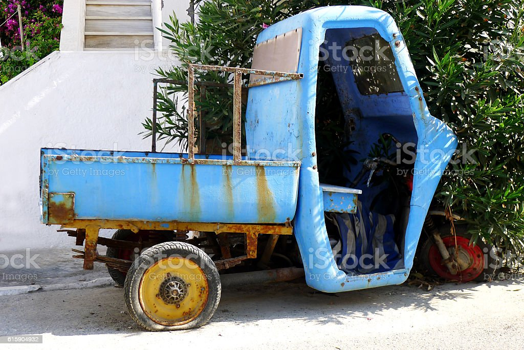 Abandoned Three Wheeled Truck stock photo