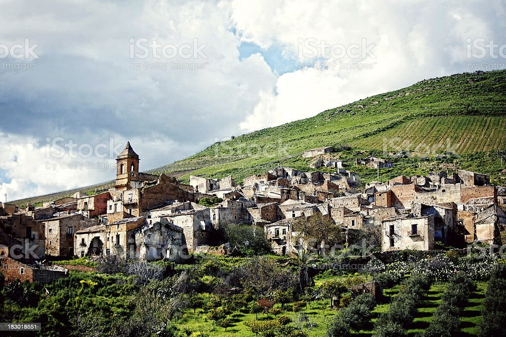 abandoned town on the hills stock photo