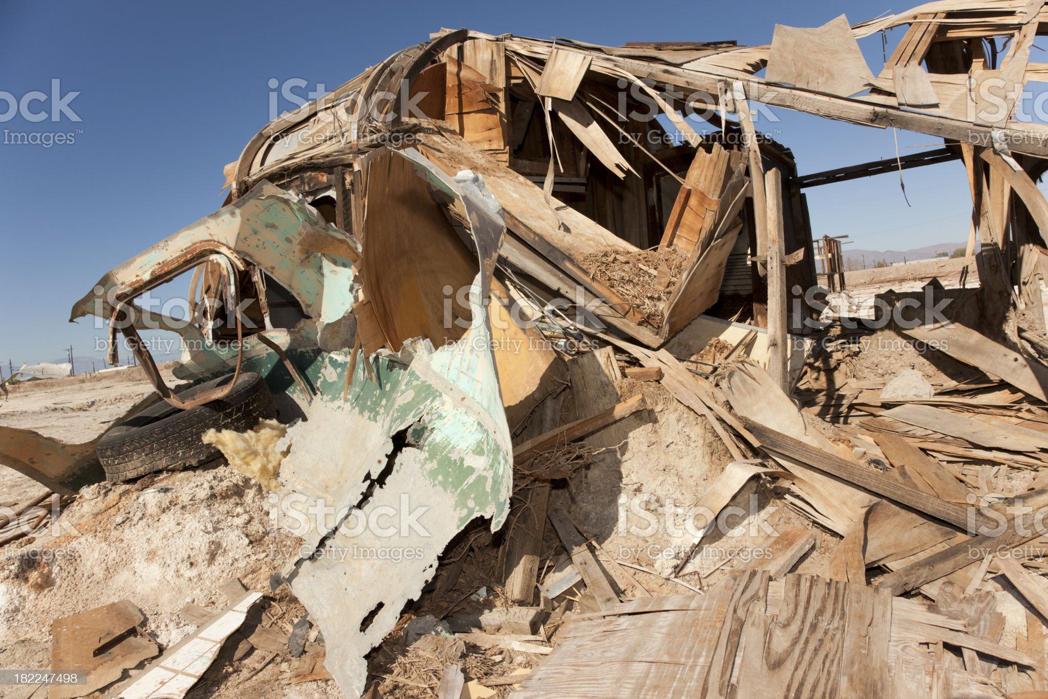 Abandoned Trailer Nearly Destroyed on Salt Flats, Salton Sea, California royalty-free stock photo