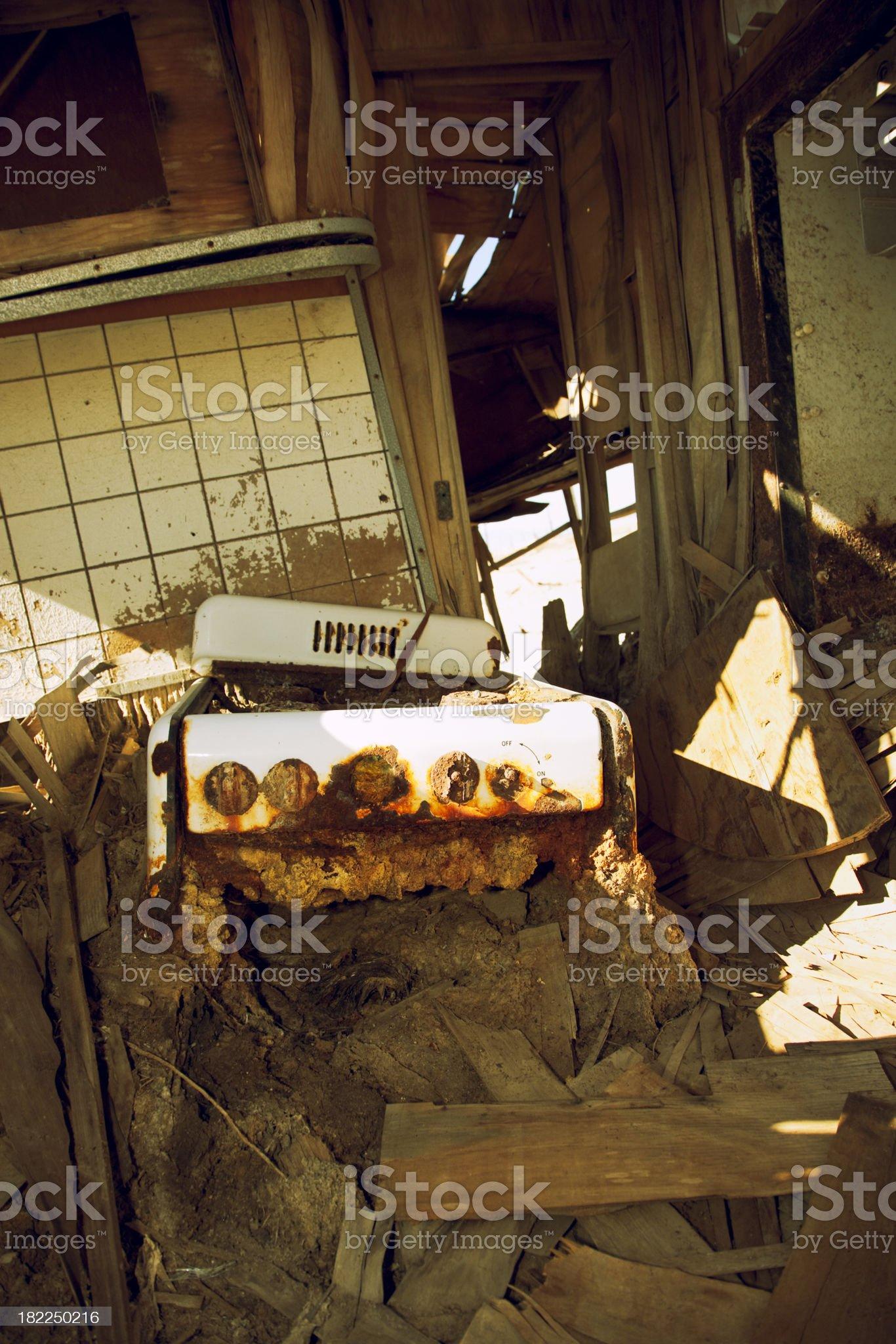Abandoned Trailer on Salt Flats, Interior, Salton Sea, California, Grunge royalty-free stock photo
