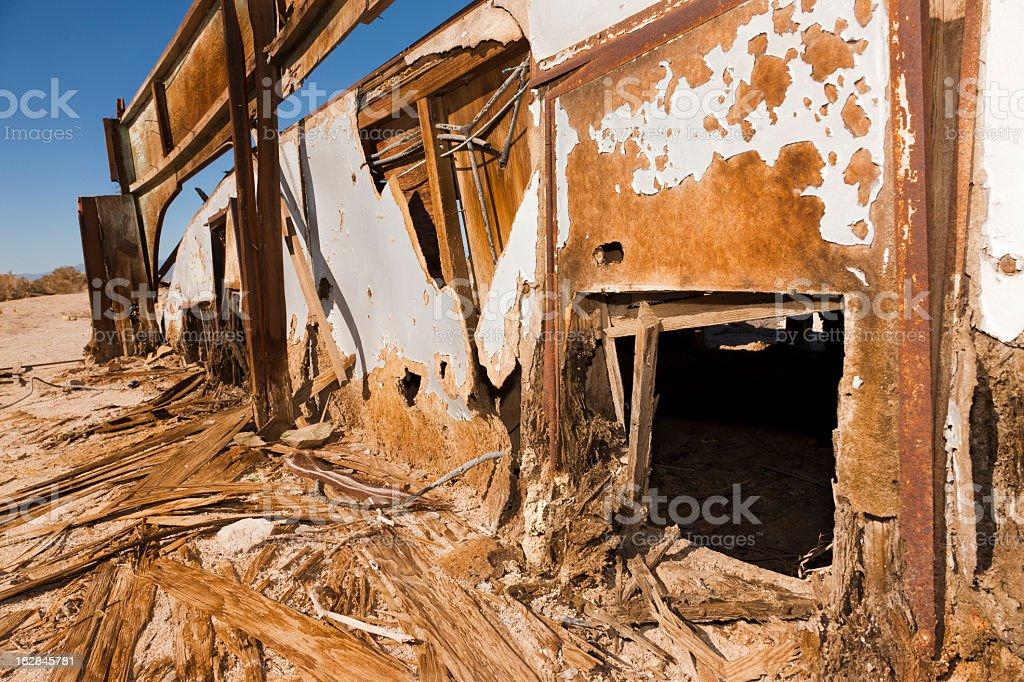 Abandoned Trailer, Splintered Wood Siding, Salton Sea, Grunge royalty-free stock photo