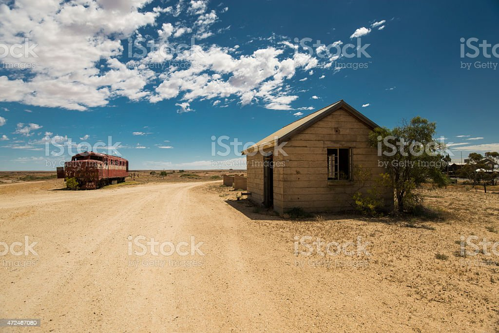 Abandoned Train & Building in Marree stock photo