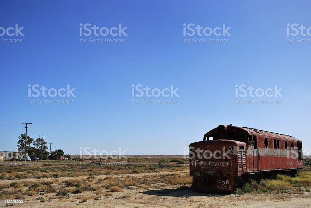 Abandoned train coach in Marree, South Australia stock photo