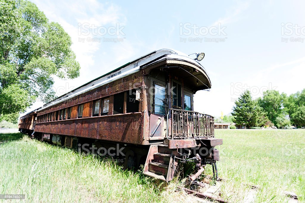 Abandoned train, ghost town stock photo