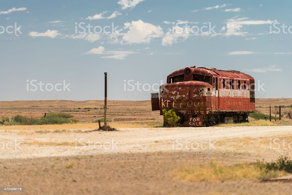 Abandoned Train in Marree stock photo