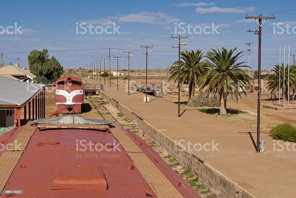 Abandoned train in Marree, South Australia stock photo