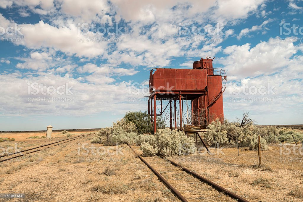 Abandoned Train Station/Platforms in Curdimurka, Australia stock photo
