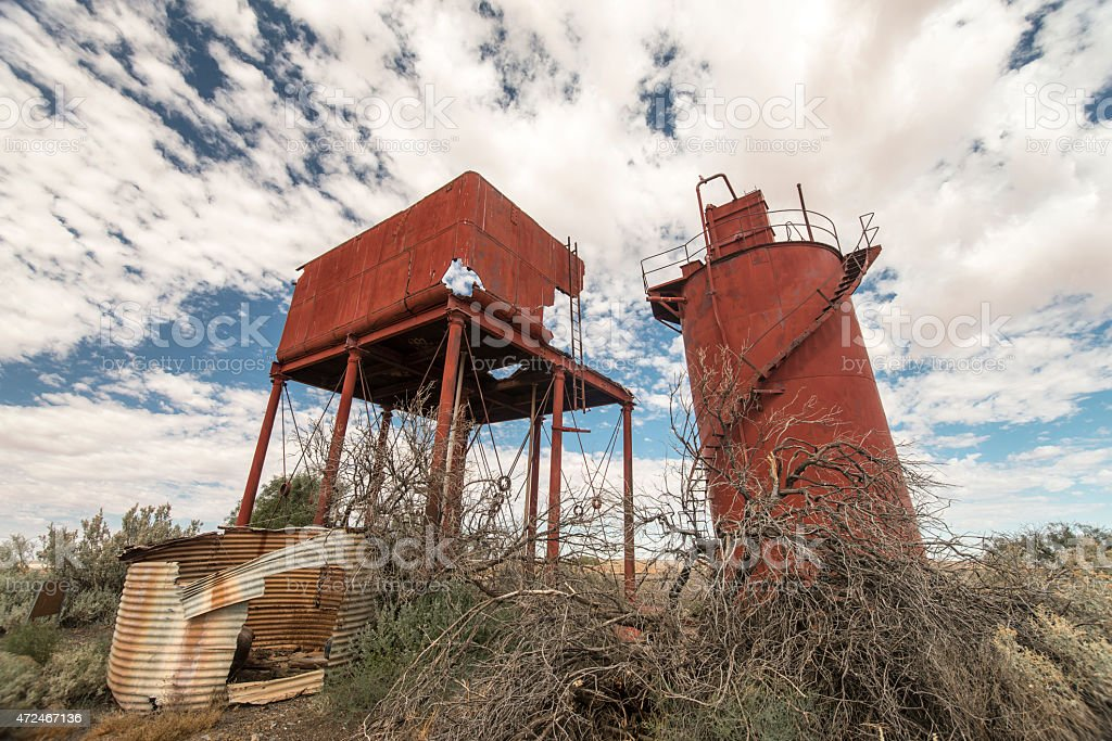 Abandoned Train Station/Platforms in Curdimurka, Australia stock photo