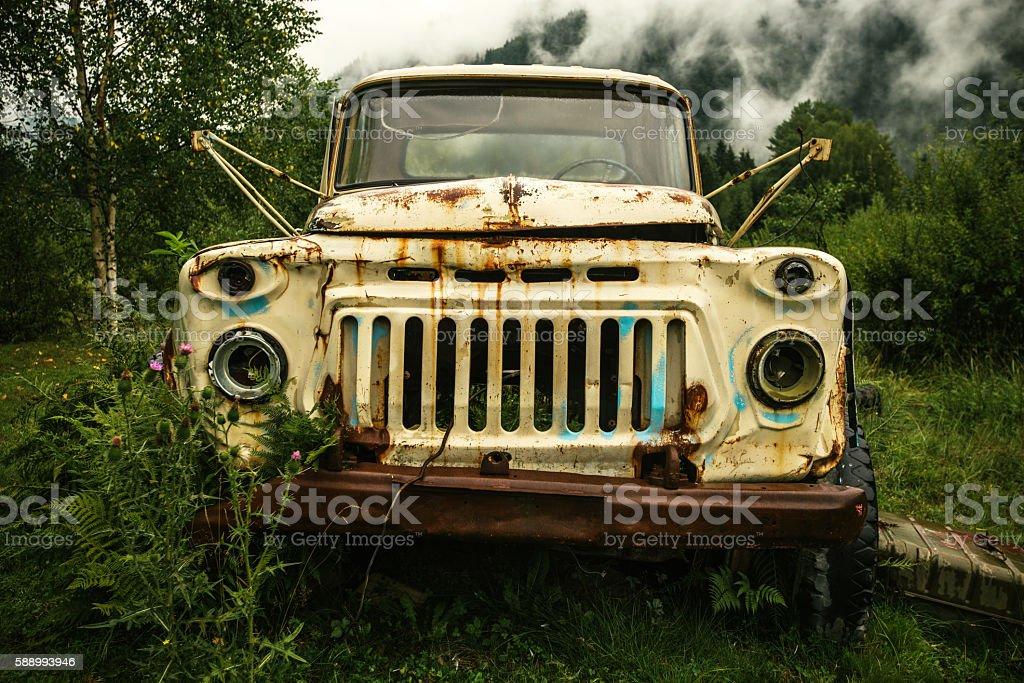 abandoned vehicle seized nature stock photo