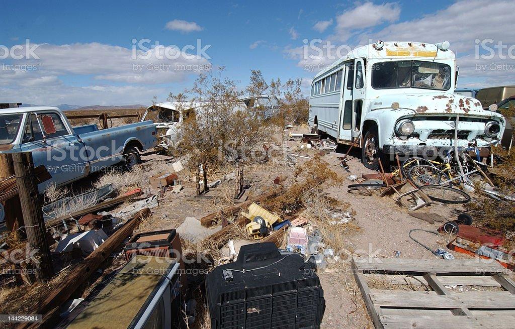 Abandoned vehicles in the Nevada Desert stock photo