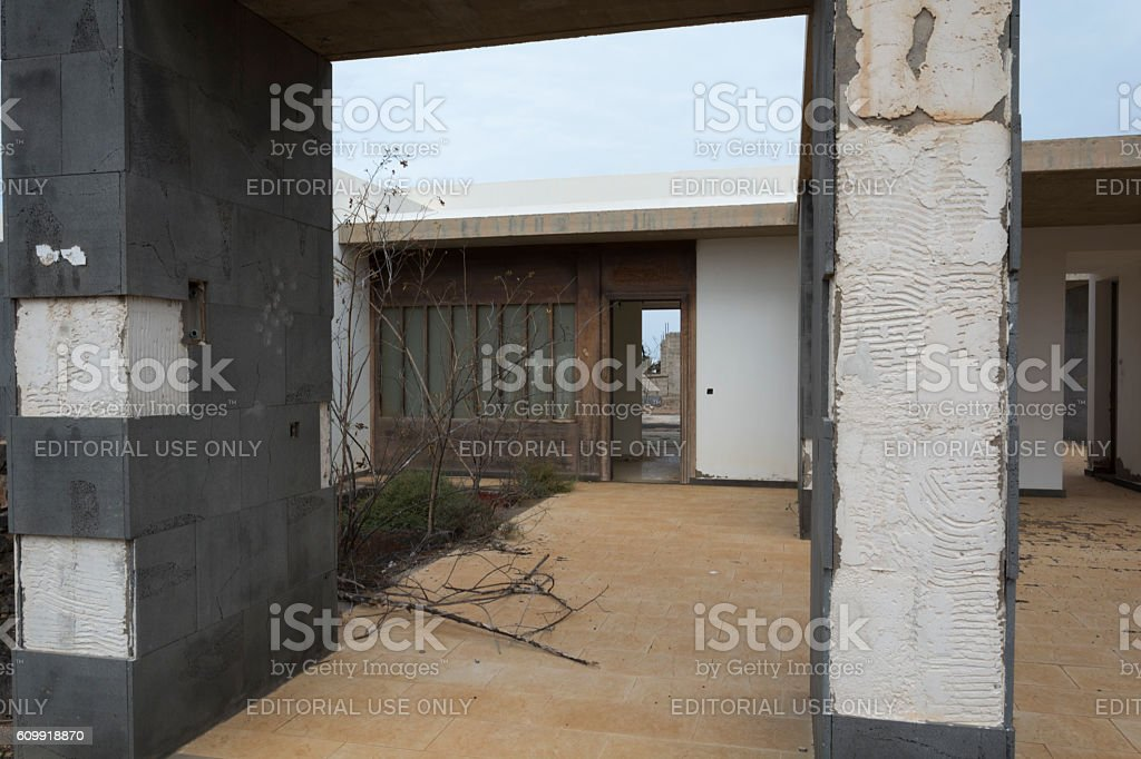 Abandoned villa complex at Faro de Pechiguera Lanzarote stock photo