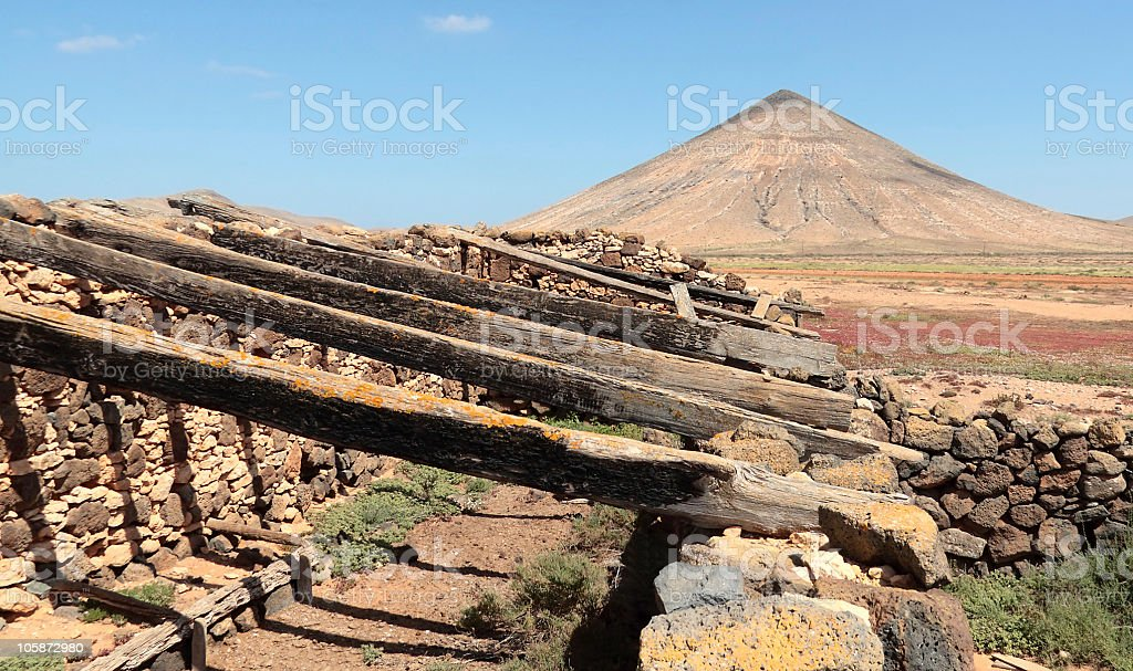 Abandoned Village in an Arid Volcanic Landscape, Fuerteventura, Canary Islands stock photo