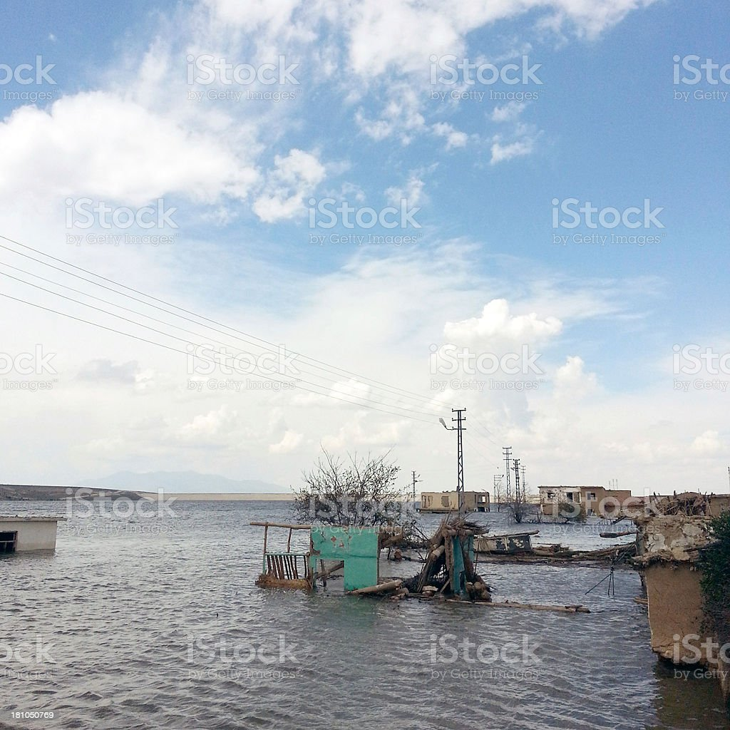 Abandoned village in water stock photo