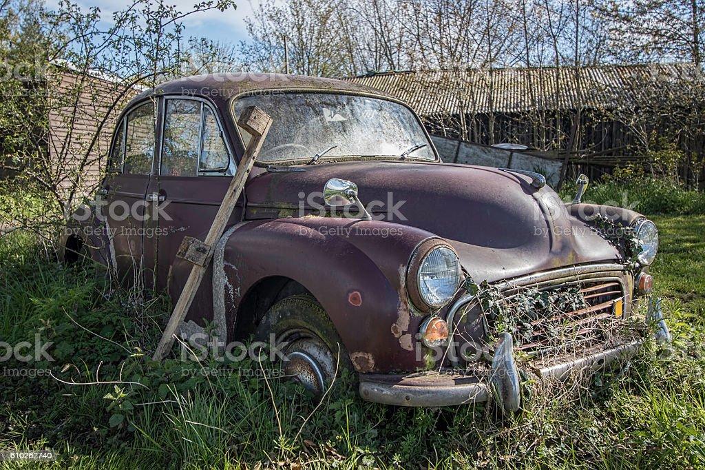Abandoned vintage car stock photo