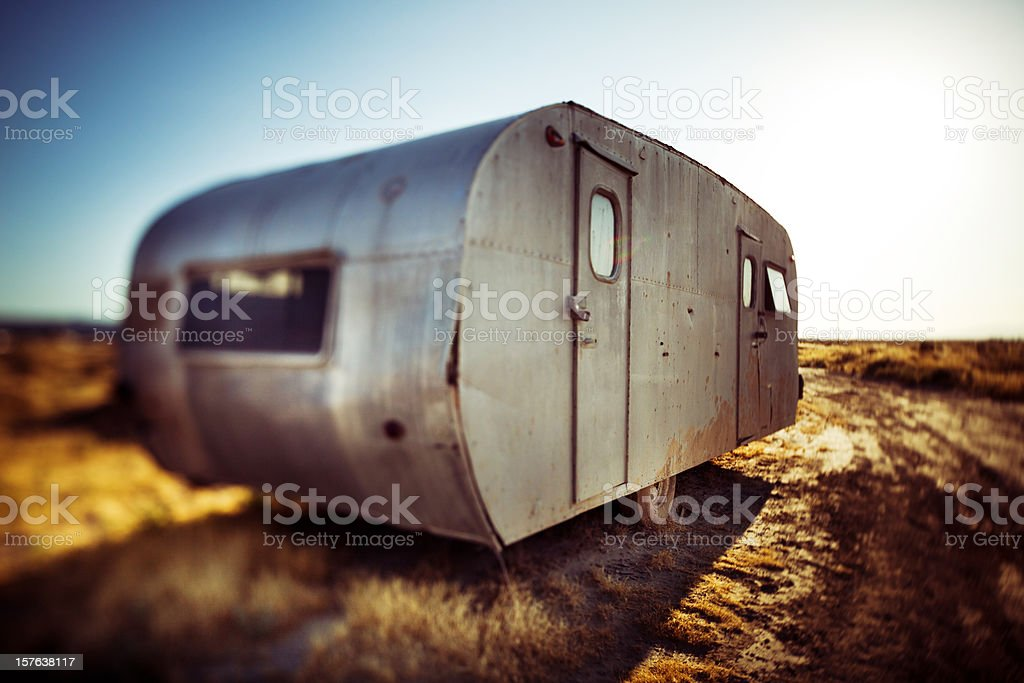abandoned vintage mobile trailer royalty-free stock photo