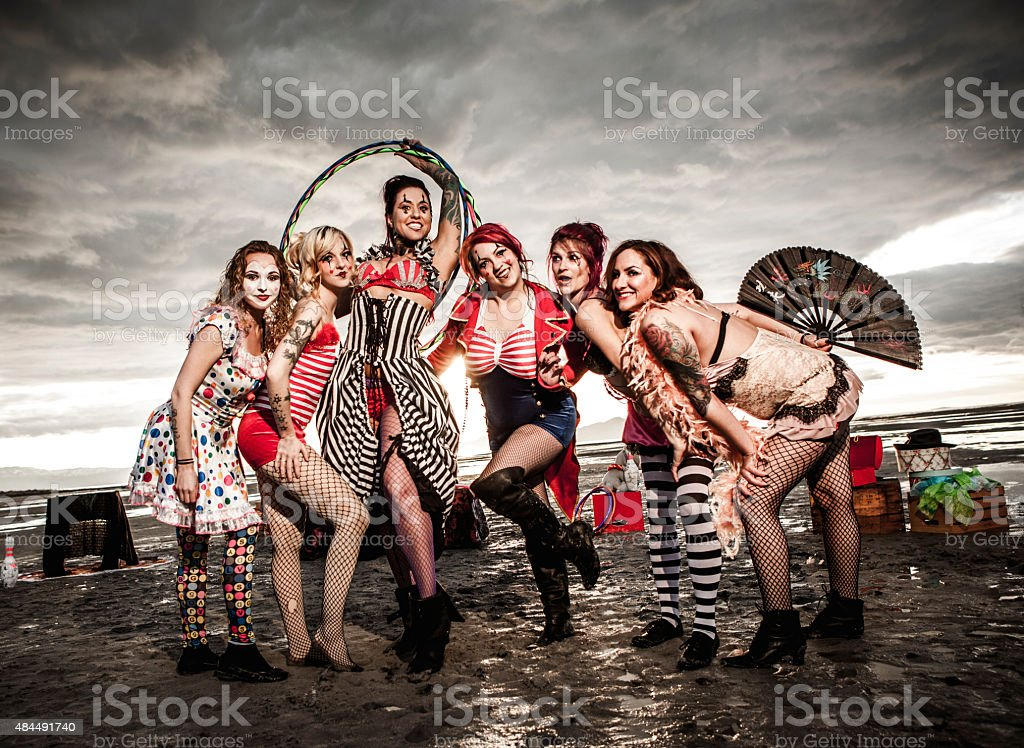 Abandoned Vintage Style Circus Group in the Desert stock photo