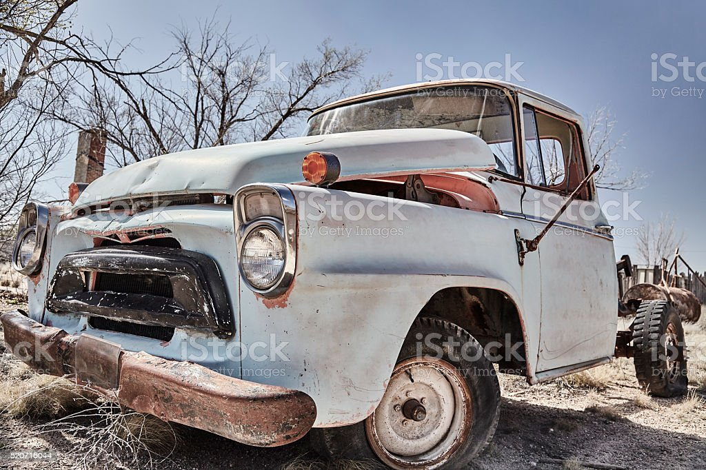 Abandoned Vintage Truck days and memories long gone stock photo