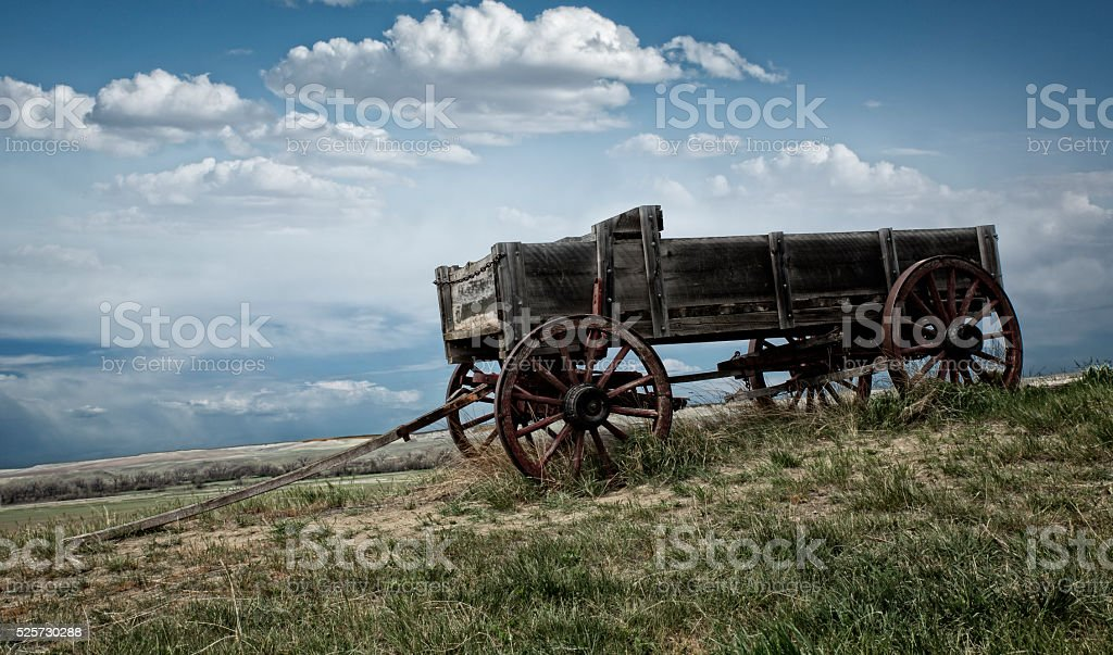 Abandoned Wagon on the Wyoming Prairie stock photo