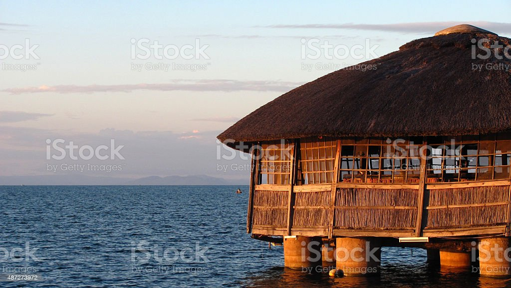 Abandoned water-house in Lake Malawi stock photo