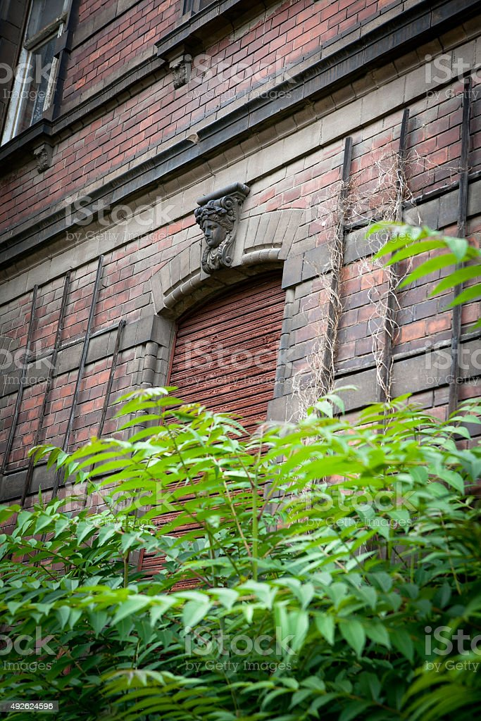 abandoned weathered old brick building stock photo