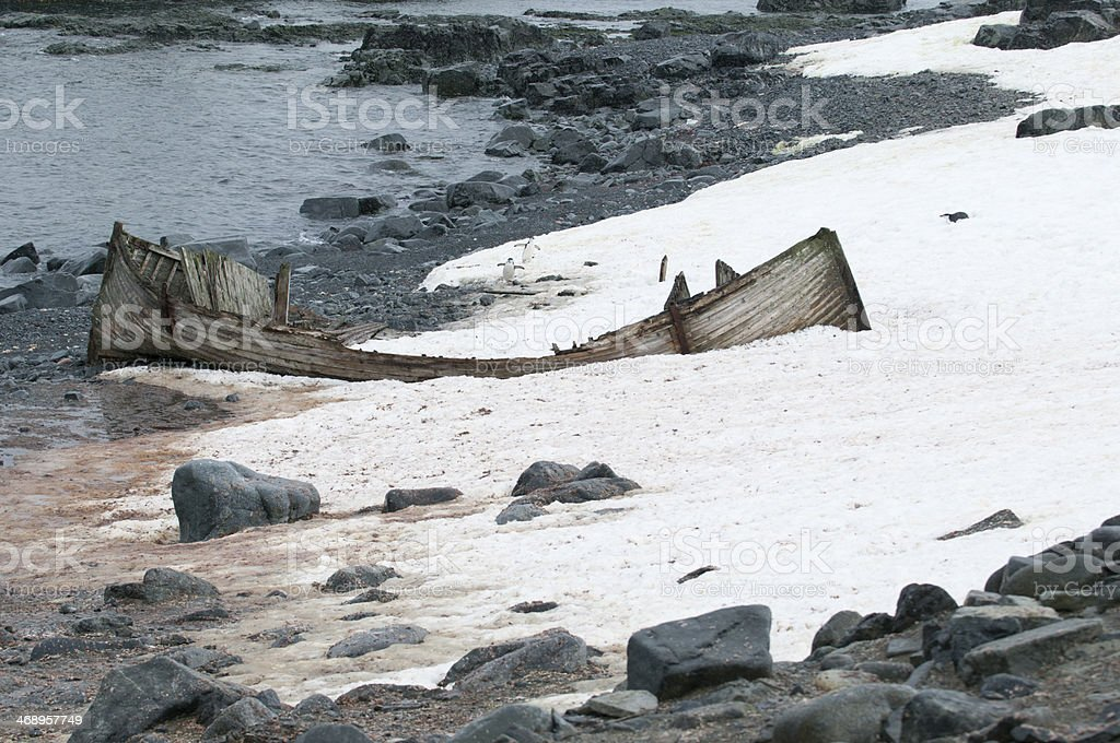 Abandoned Whaling Boat on Halfmoon Island (Antarctica) stock photo