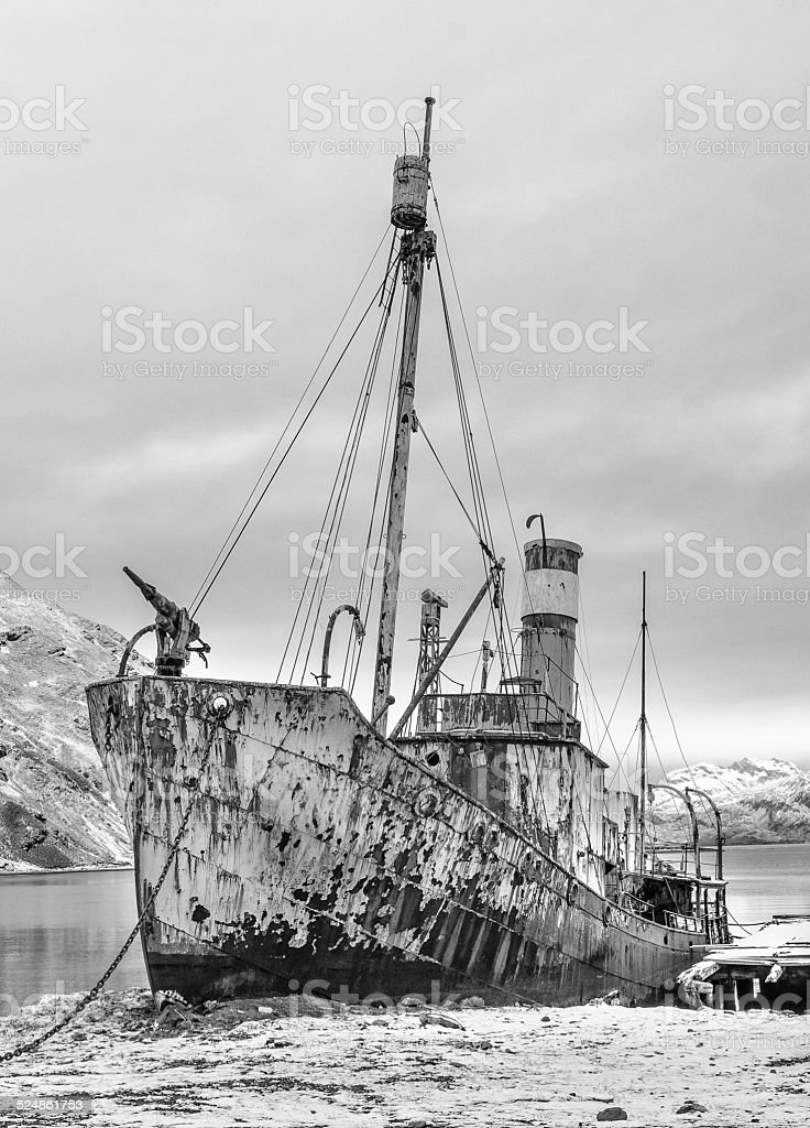Abandoned whaling ship in South Georgia stock photo