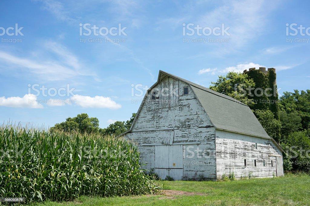 Abandoned white barn stock photo