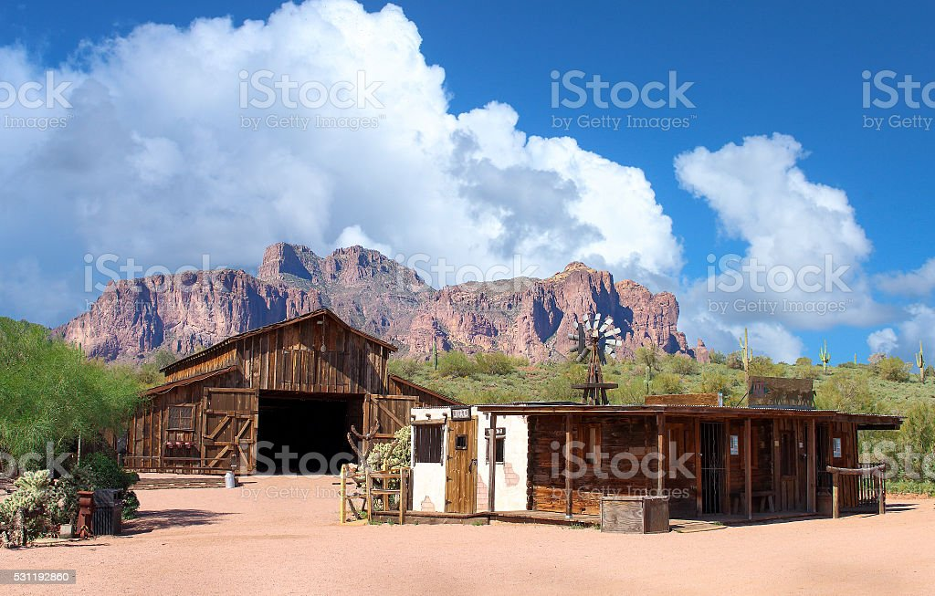 Abandoned Wild West town stock photo
