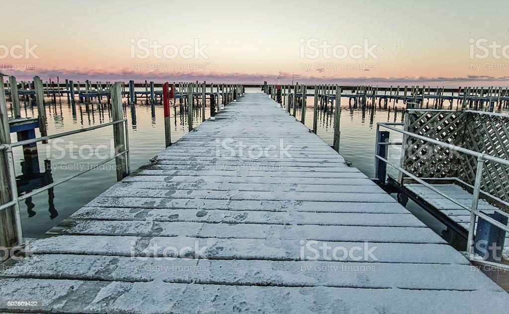 Abandoned Winter Harbor stock photo